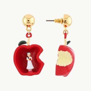 Snow White Red Apple Enamel Drop Earrings